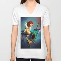 transistor V-neck T-shirts featuring Red and Luna by Leksotiger