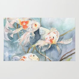 Koi Fish Painting, Underwater Water Lily Rug