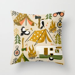Camping Kit – Olive Palette Throw Pillow