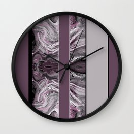 Marbled Mauve Pink Stripes Wall Clock