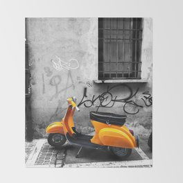 Orange Vespa in Bologna Black and White Photography Throw Blanket