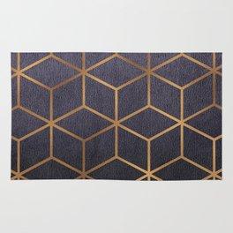 Dark Purple and Gold - Geometric Textured Gradient Cube Design Rug