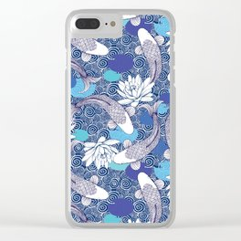 Blue Koi Ripples Clear iPhone Case