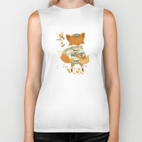 fruit Biker Tanks featuring Fritz the Fruit-Foraging Fox by Teagan White