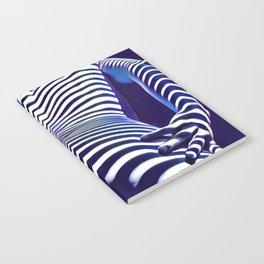 2020s-AK Sensual Blue Striped Woman from Behind Notebook