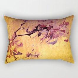 japanese crab apple flowers on golden tones Rectangular Pillow