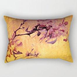 japanese crab apple flowers on golden tones Rectangular Pillow