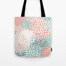 Festive, Floral Prints, Teal, Peach, Coral, Abstract Art, Colour Prints Tote Bag