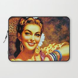 Jesus Helguera Painting of a Mexican Calendar Girl with Bangles Laptop Sleeve