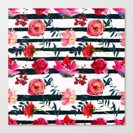 Black white pink floral watercolor stripes pattern Canvas Print