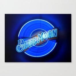 Blue Moon zoom burst neon sign Canvas Print