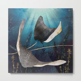 Metallic Stingray Metal Print