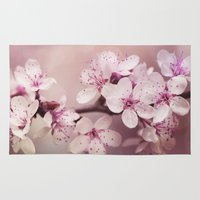 cherry blossom Area & Throw Rugs featuring Cherry Blossom by LebensART Photography