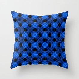 Velvet Blue Square Lines Throw Pillow