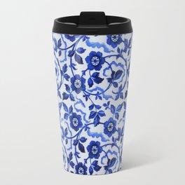 Azulejos blue floral pattern Travel Mug