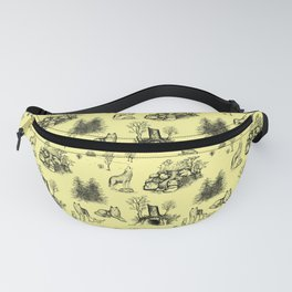 Eurasian Wolf Toile Pattern (Yellow and Black) Fanny Pack