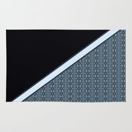Half Dark and Half Abstract Steel Grey Geometric Striped Pattern Rug
