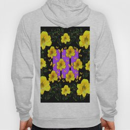 BLACK ART  YELLOW AMARYLLIS FLOWERS BUTTERFLY FLORAL Hoody