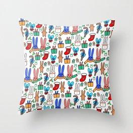 A Very Bunny Christmas Throw Pillow