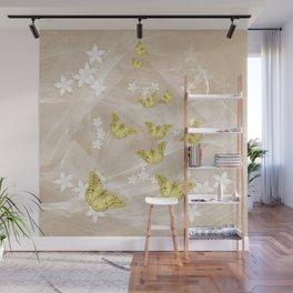 Gold butterflies on stormy iced-coffee flower mandala Wall Mural