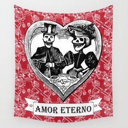 Amor Eterno | Eternal Love | Red and Black Wall Tapestry