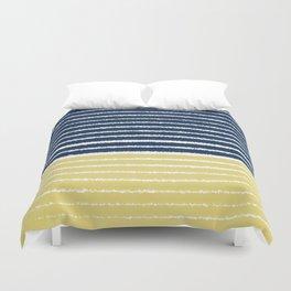 Gold and Navy Blue brush Strokes Duvet Cover