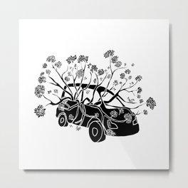 Break Free - Car With Tree Growing In It Illustration Metal Print