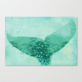 A Mermaid's Tail III, painterly coastal art, aqua metal Canvas Print