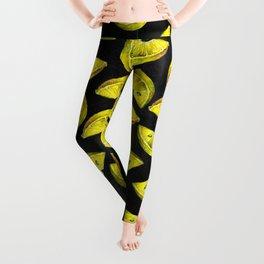 Lemon Slices Pattern Chalkboard Leggings