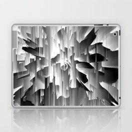 Flowers Exploding with Glitch in Black and White Laptop & iPad Skin