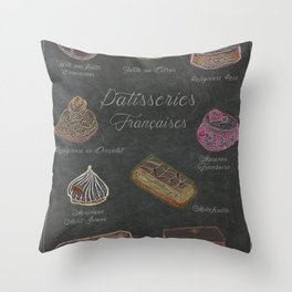 French Pastries Chalk Board Illustration Throw Pillow