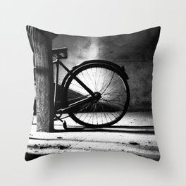 Old bicycle in a dusty attic Throw Pillow