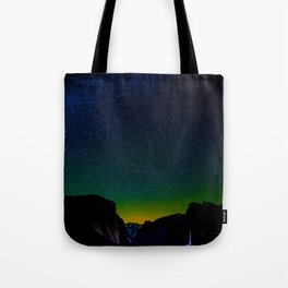 Starry Night Sky Stars Landscape Silhouette Colorful Green Turquoise Sky Ombre Tote Bag
