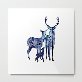 Deer Family with Pine Forest Art Metal Print