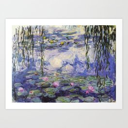 1917 Water Lilies oil on canvas. Claude Monet. Vintage fine art. Art Print