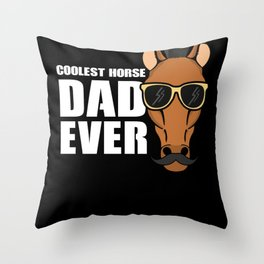 Coolest Horse Dad - Horse Lover Rider Throw Pillow