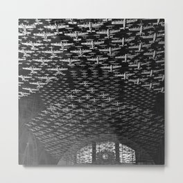 Union Train Station, Chicago, Illinois U.S. Air force Boeing B-17 Flying Fortress Ceiling Air force plane display black and white photograph Metal Print