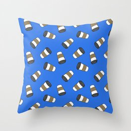 ditsy coffee on blue Throw Pillow