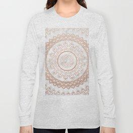 Mandala - rose gold and white marble Long Sleeve T-shirt