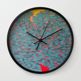 Turquoise tree Wall Clock