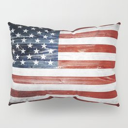 American Wooden Flag Pillow Sham