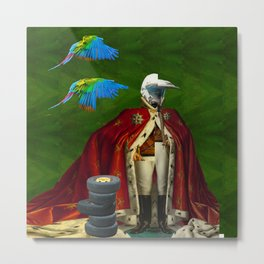 THE DISTORTED KING, THE DISTORTED COLORFUL PARROTS AND THEIR DISTORTED TREASURE OF SPARE TIRES I Metal Print