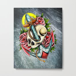 trad skull anchor Metal Print