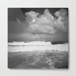 Birds Over the Ocean - Black and White Film Photograph taken in the Outer Banks Metal Print