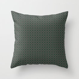 A mosaic in green and light brown lines Throw Pillow