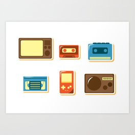 80s Retro Household Electronics - Video Games Television Radio Cassette Tape Walkman Pattern Art Print