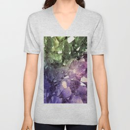 Two Tone Crystal Geode Unisex V-Neck