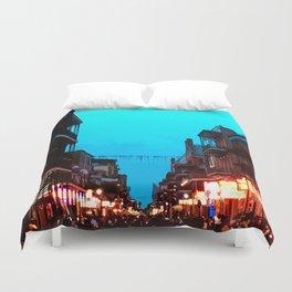 New Orleans Bourbon Street Dusk Duvet Cover