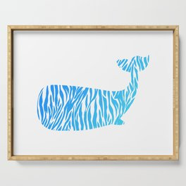Whale with blue zebra print Serving Tray