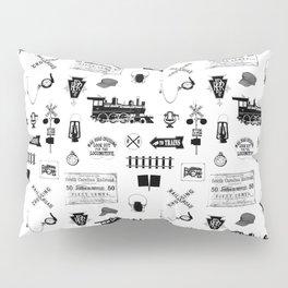 Railroad Symbols on White Pillow Sham
